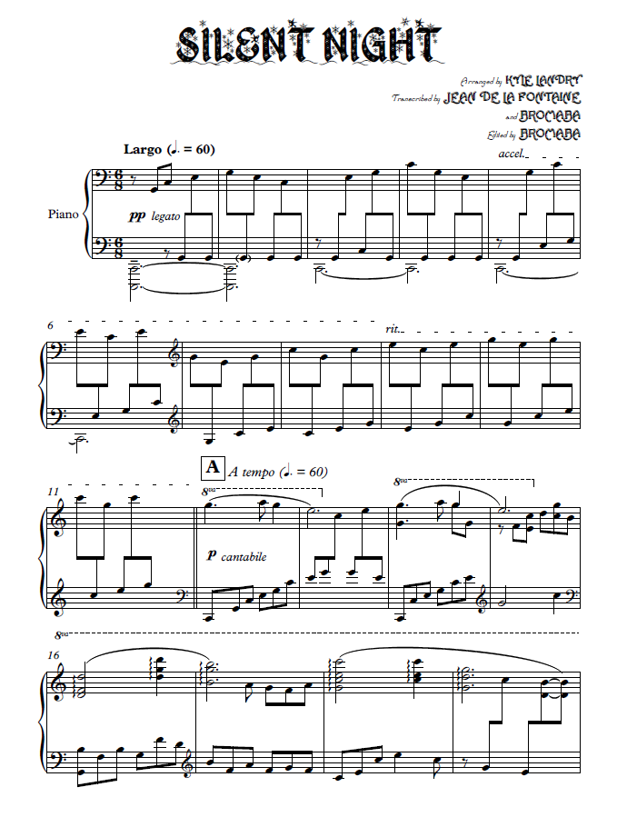 silent night piano sheet music pdf